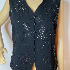 Boho glam black beaded vest!